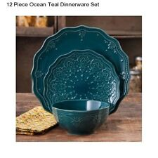 New Pioneer Woman Ocean Teal 12 Piece Dinnerware Set Serving Dishes Bowls Plates