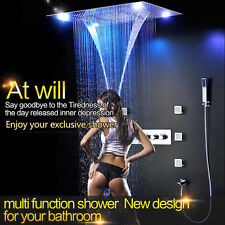 "31"" Rainfall Shower Head Faucet 6 Massage Jet Body Sets Thermostatic Mixer Valve"
