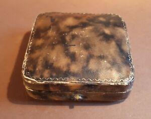 Antique c1910 Jewellery Box. Mottled Morocco/ Push Catch/ M/F 3-Piece Set. Blank