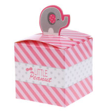 50pcs Cute Elephant Candy Boxes Wedding Baby Shower Christening Favors Pink
