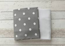 NEW 2 piece fitted cot sheet set - Grey with White Polkadots & Crisp White