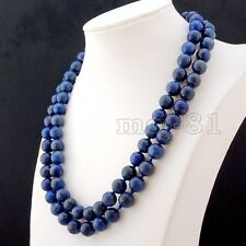 Genuine Natural 10mm Blue Lapis Lazuli Round Gemstone Beads Necklace 36'' AAA