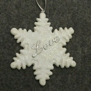 SNOWFLAKE SHAPED WHITE & SILVER COLORED CHRISTMAS TREE ORNAMENT GLITTER LOVE