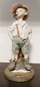 Vintage Capodimonte Figurine Boy in Dad's Shoes Smoking Cigar, Pre-owned