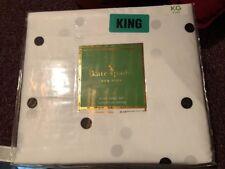 Kate Spade King Bed Sheet PillowCase Set 4pc White Mini Black Polka Deco Dots