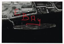 WWII RARE UNP PHOTOGRAPH 8X10 AERIAL OVER SUNKEN JAPANESE CVE CLASS CARRIER LOOK