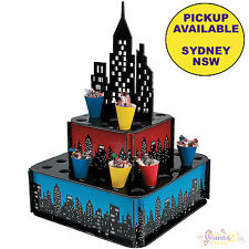 SUPERHERO PARTY SUPPLIES CITY CANDY TREAT POPCORN CUPCAKE STAND LOLLIES HOLDER