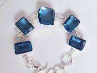 "NEW BOLD Sterling Silver and GENUINE Blue Topaz Gemstones Bracelet 7""-8"""