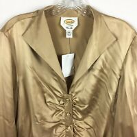 Talbots Blouse Size 14 100% Silk Gold Front Buttons Long Sleeve New