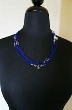 NEW Designer Chan Luu Blue Seed Bead Long or Short Multi Strand Charm Necklace