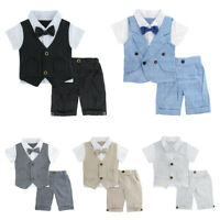 bf77b31f46f2 Baby Boy Gentleman Outfits Suit Newborn Formal Short Set Infant Bowtie  Clothes