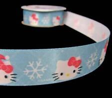 "3 Yds Hello Kitty Christmas Winter Snowflakes Blue Offray Satin Ribbon 7/8""W"