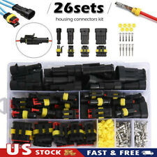 26Sets 1-4 Pin Electrical Wire Connector Plug Waterproof Automotive Plug Kit US