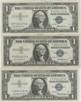 (3)Lightly Circulated 1957 Blue Seal Silver Certificates