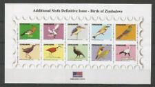 ZIMBABWE 2007, Birds, Vögel, variety imperforate horizontally. SG MS1225a. Rare