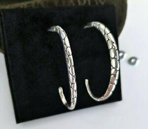 """JOHN HARDY Kali Pebble Silver Oval Twist Open Hoop Earrings - 2"""" - Stunning!"""