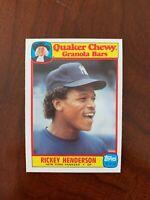1986 Topps Quaker Chewy Granola #25 - Rickey Henderson, New York Yankees- HOF