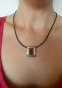 Amber Sterling Silver Necklace Black Chord Chain