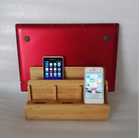Handcrafted Bamboo Multi-device Stand Holder Charging Station Phone Tablet Gifts