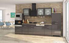 Küchenzeile mit Elektrogeräten Einbauküche Geschirrspüler 340 cm hochglanz grau