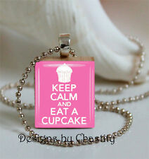 Keep Calm and Eat A Cupcake Necklace Scrabble Art Charm Pendant Pink