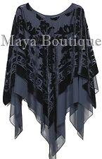 Black Maya Matazaro Layered Poncho Top Burnout Velvet & Chiffon Made In USA