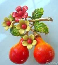 VINTAGE signed SELINI Fruit & FLOWERS pin BROOCH highly COLLECTIBLE excellent