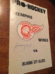 Rare 1967 Memphis Wings VS Oklahoma City Blazers Pro Hockey Program Memphis TN