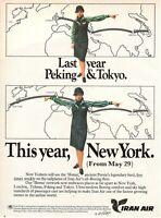 1975 Original Advertising' Vintage Iran Air Airlines Peking Tokyo New York