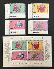 Hong Kong 1992 S56 Lunar Year of the Monkey. Sc#615-18,618a(S/S).  MNH