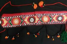Tribal Banjara BOHO tassel Belly Dance textile Red skirt waist belt  scarf