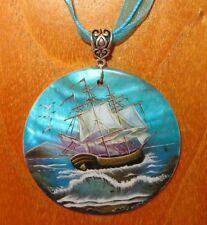 NATURAL SHELL Pendant Boat at sea Russian hand painted  SHIP White Sails
