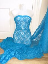 "3 MTR JEWEL BLUE LACE NET LYCRA STRETCH FABRIC...60"" WIDE £10.49 SPECIAL OFFER"