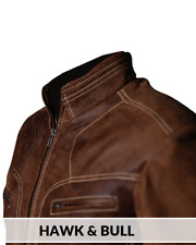 Men Biker Brown Distressed Vintage Motorcycle Real Leather Jacket Café Racer