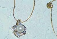 14k Pearl 2 Diamond Pendant Necklace Yellow white gold Gold Vintage High end