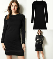 M&S Marks Spencer Womens Black Ponte Stretch Jersey Long Sleeve Shift Dress