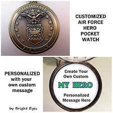 "CUSTOM Personalized Air Force Military Pocket Watch 31"" Chain Gift for Soldier"