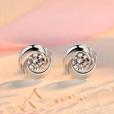 Ladies 925 Sterling Silver Swirl Stud Round Crystal Earrings CZ Cubic Zirconia