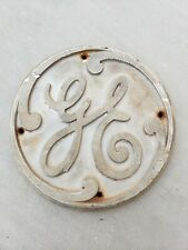 "7-1/2"" Round GE Cast Aluminum Plaque Tag Signage Emblem General Electric Sign"