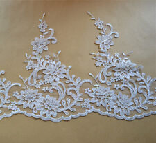 """Embroidered Trim Ribbon Ivory Bridal Lace Trimming Corded Wedding Edging 10.6"""""""