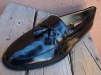 MEZLAN Mens Dress Shoes Fine Black Leather Casual Slip On Tassel Loafer Size 9.5