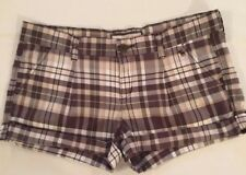 Abercrombie And Fitch Women's Shorts, Flat Front Brown Check, Size 8