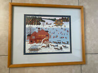 Vintage Charles Wysocki Red Mill Pond Christmas Winter Ice Skating Framed Print