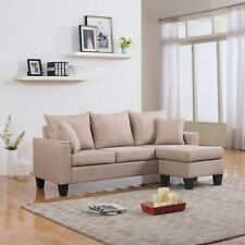 Modern Couch Fabric Small Space Sectional Sofa, Reversible Chaise, Apricot