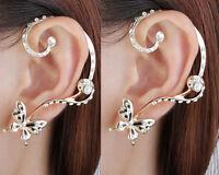 Women Nice Modish Butterfly Ear Cuff Clip Stud Crystal Rhinestone Earring 1 Pair