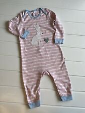 Baby Frugi Age 12-18 Months Bunny Romper Sleepsuit Striped Print  Organic Cotton