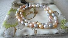 "HONORA CULTURED FRESHWATER PEARL MULTI-COLOR 16"" NECLKACE STERLING CLASP NIB QVC"