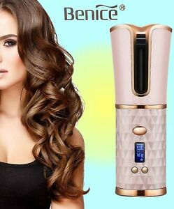 Benice Wireless Rechargeable Auto Hair Curler - Temperature Control & Timer