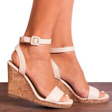 NUDE ANKLE STRAP CORK WEDGED PLATFORMS WEDGES STRAPPY SANDALS HIGH HEELS SIZE