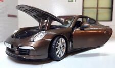 G LGB 1:24 Scale Brown Porsche 911 Carrera S 2011 V Detailed Diecast Model Car